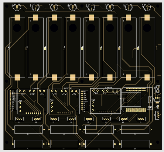 A render of the 20x20cm PCB that I designed for my 8 way 18650 discharger.