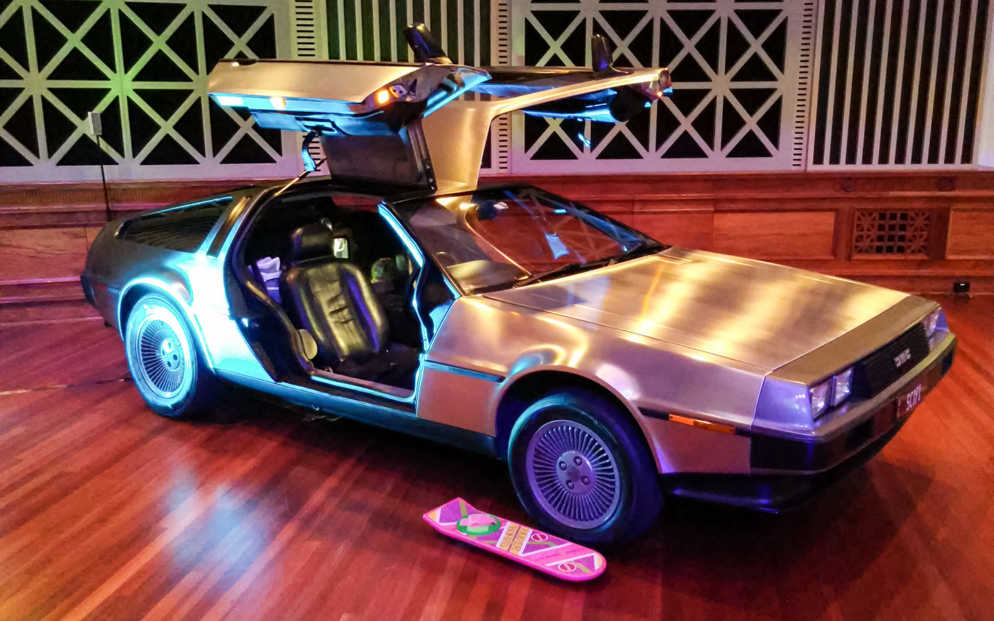 (My DeLorean in all its glory inside City Hall)